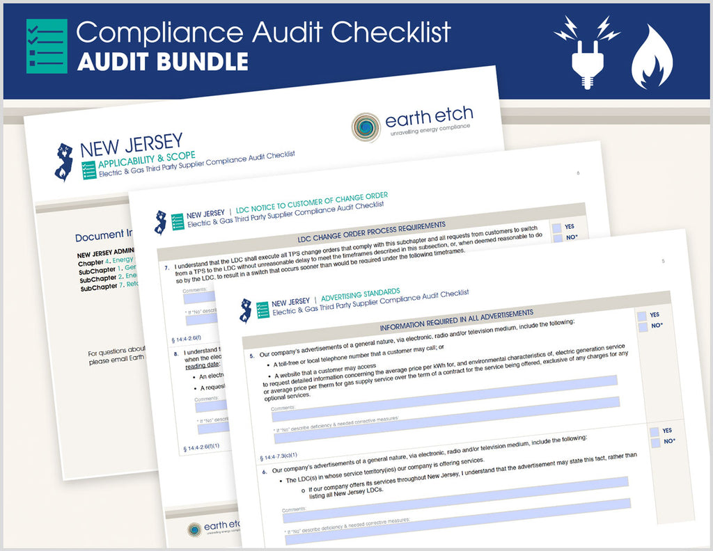New Jersey Compliance Audit Checklist BUNDLE (Electric & Gas)