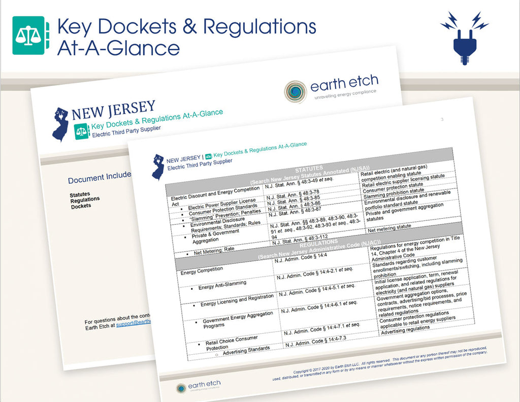 New Jersey Key Dockets & Regulations At-A-Glance (Electric)