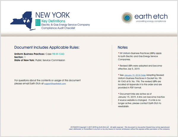 New York Key Definitions - § 1 – Compliance Audit Checklist (Electric & Gas)