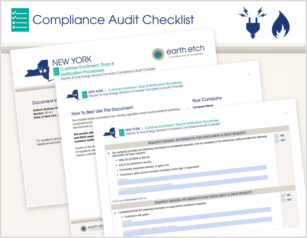 New York Customer Enrollment, Drop & Notification Procedures - §§ 5.D. and 5.E – Compliance Audit Checklist (Electric & Gas)