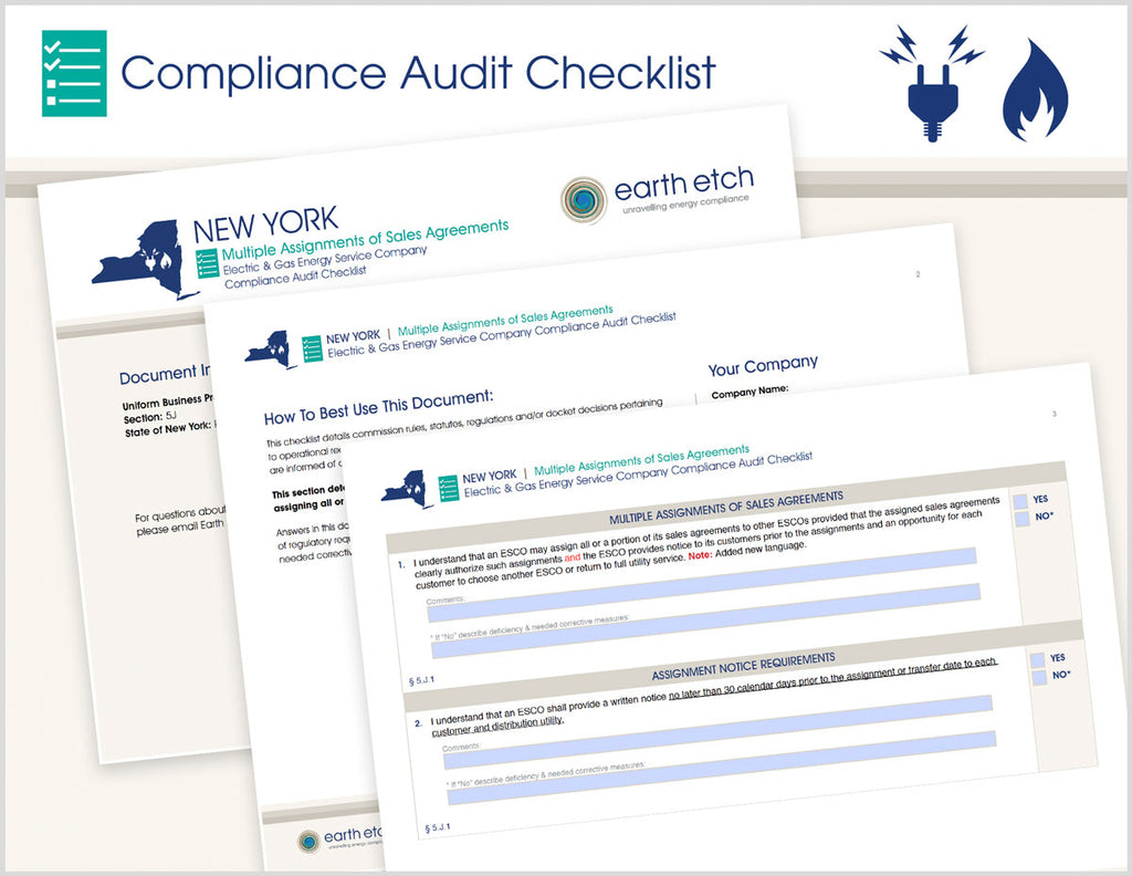 New York Multiple Assignments of Sales Agreements - § 5.J – Compliance Audit Checklist (Electric & Gas)
