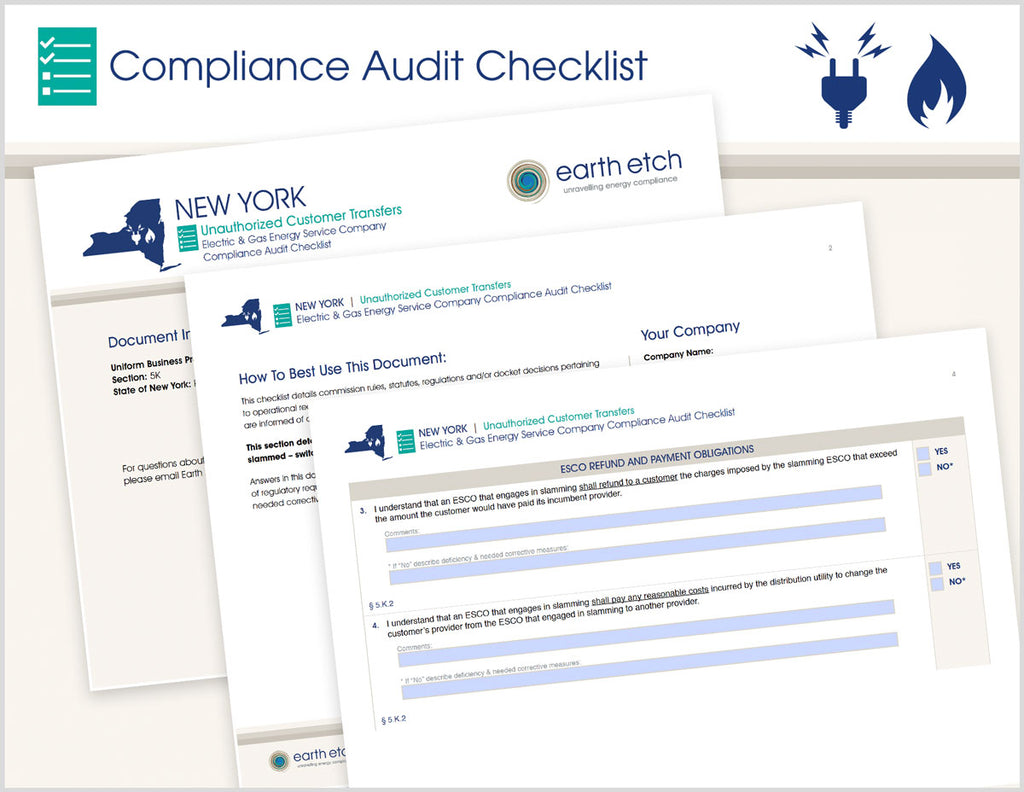 New York Unauthorized Customer Transfers - § 5.K – Compliance Audit Checklist (Electric & Gas)