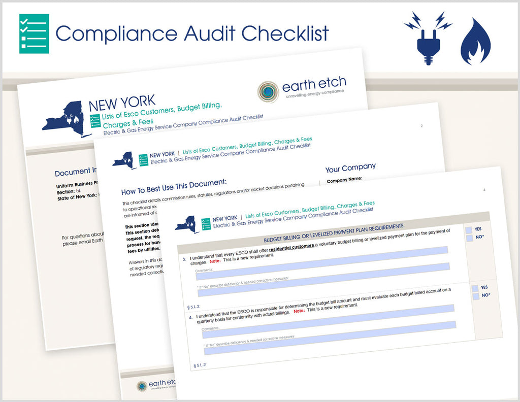 New York Lists of ESCO Customers, Budget Billing, Charges & Fees - § 5.L – Compliance Audit Checklist (Electric & Gas)