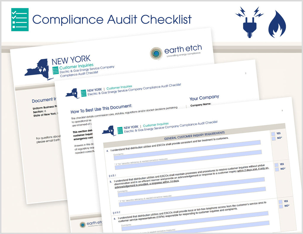 New York Customer Inquiries - § 6 – Compliance Audit Checklist (Electric & Gas)