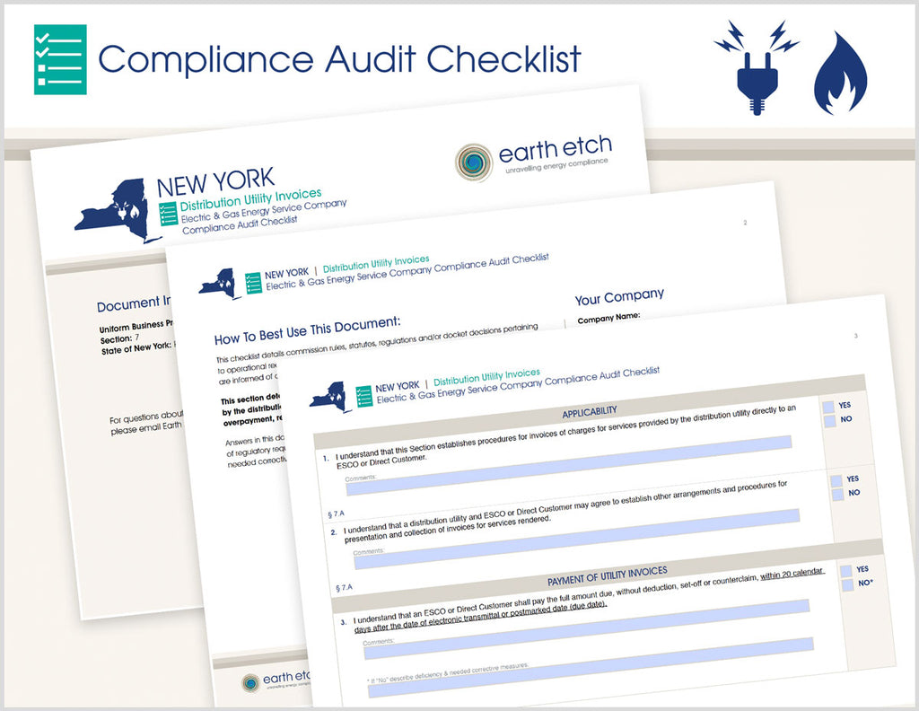 New York Distribution Utility Invoices - § 7 – Compliance Audit Checklist (Electric & Gas)