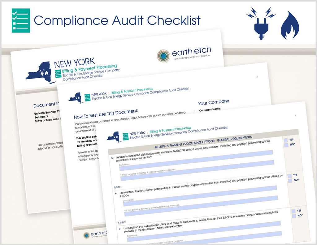 New York Billing & Payment Processing - § 9 – Compliance Audit Checklist (Electric & Gas)