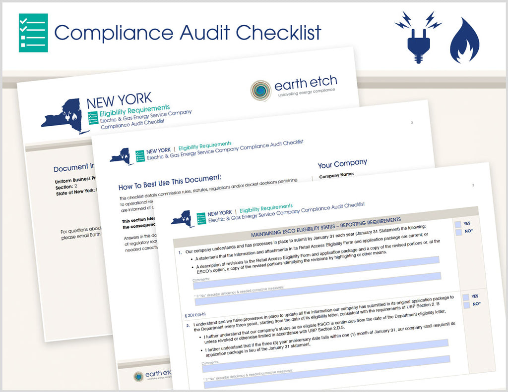 New York Eligibility Requirements - §§ 2.D and 2.G – Compliance Audit Checklist (Electric & Gas)