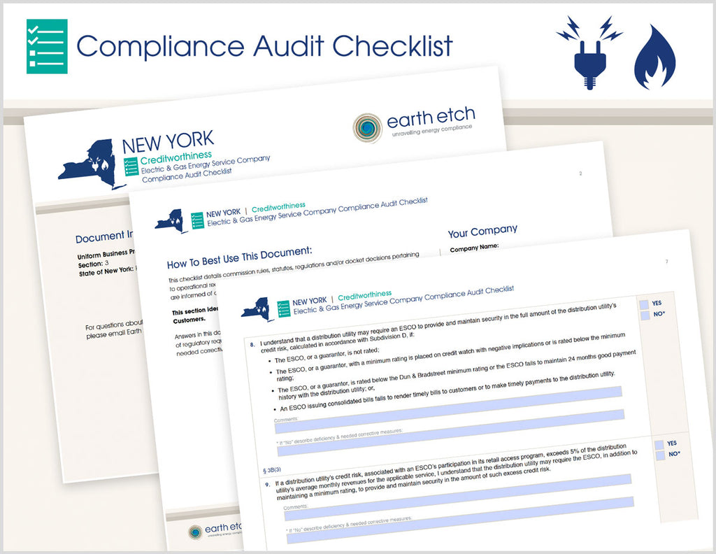 New York Creditworthiness - § 3 – Compliance Audit Checklist (Electric & Gas)