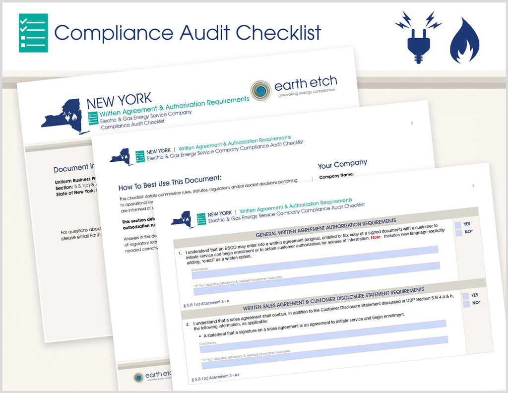 New York Written Agreement & Authorization Requirements - § 5.B.1(c) and Attachment 3 – Compliance Audit Checklist (Electric & Gas)
