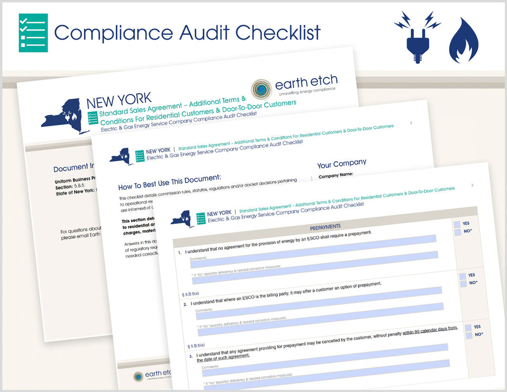 New York Standard Sales Agreement – Additional Terms & Conditions for Residential Customer and Door-to-Door Customers - § 5.B.5 – Compliance Audit Checklist (Electric & Gas)