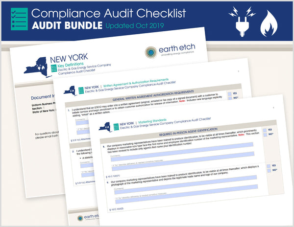 New York ESCO Compliance Audit Checklist BUNDLE (Electric & Gas)