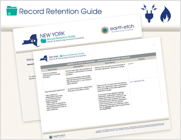 New York Record Retention Guide (Electric & Gas)