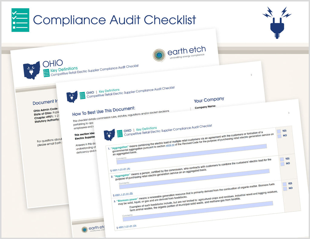 Ohio Key Definitions – 4901:1-21-01 – Compliance Audit Checklist (Electric)