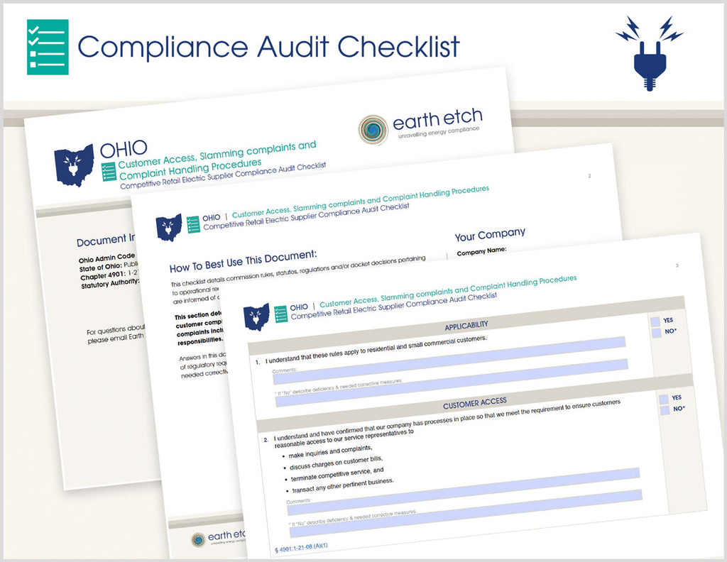 Ohio Customer Access, Slamming Complaints and Complaint Handling Procedures – 4901:1-21-08 – Compliance Audit Checklist (Electric)