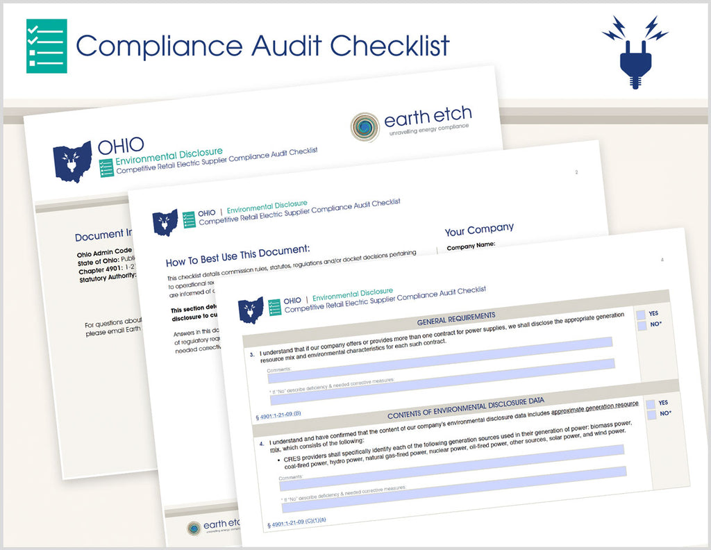 Ohio Environmental Disclosure – 4901:1-21-09 – Compliance Audit Checklist (Electric)
