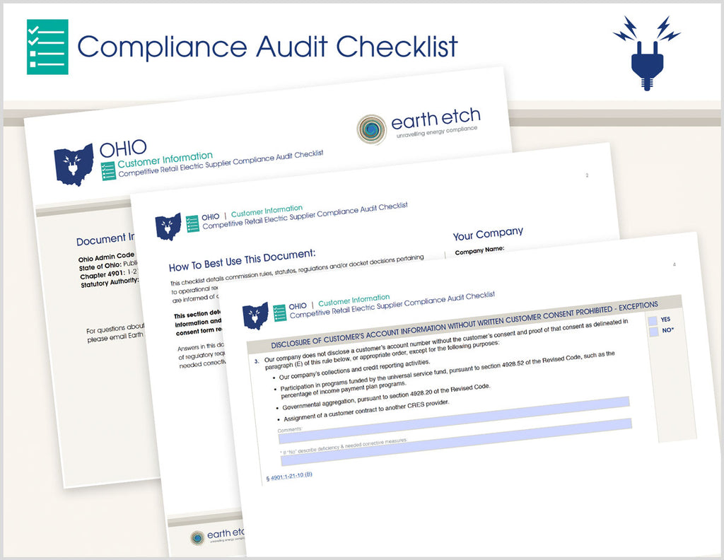 Ohio Customer Information – 4901:1-21-10 – Compliance Audit Checklist (Electric)