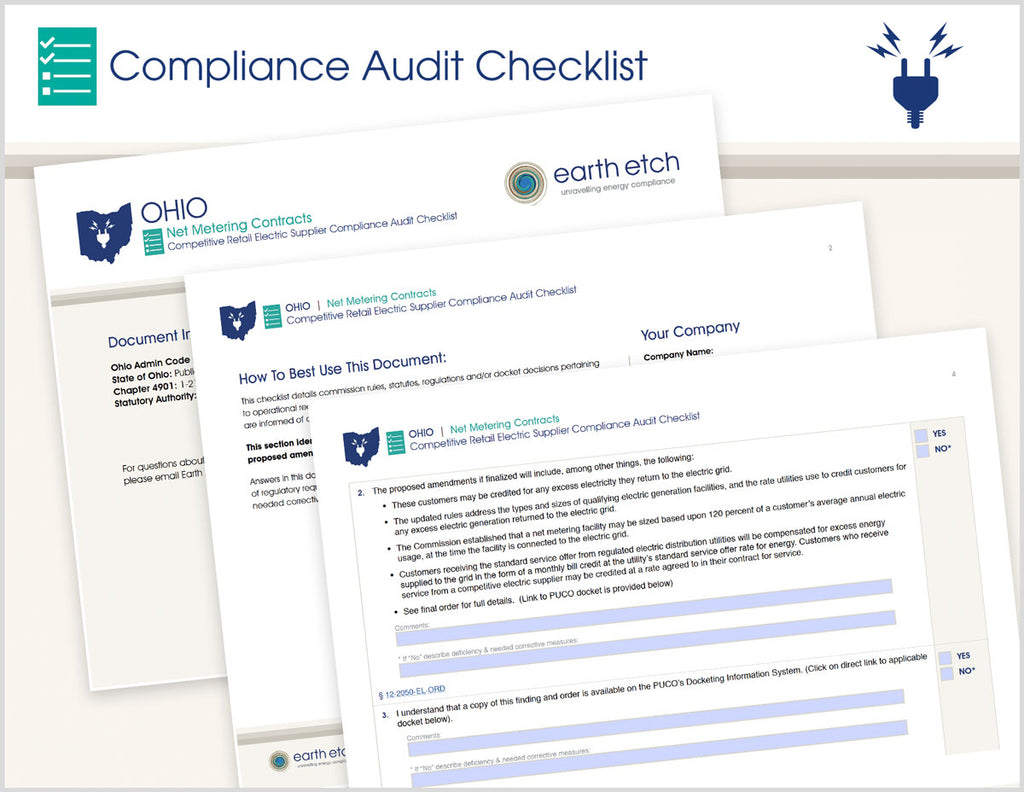 Ohio Net Metering Contracts – 4901:1-21-13 – Compliance Audit Checklist (Electric)