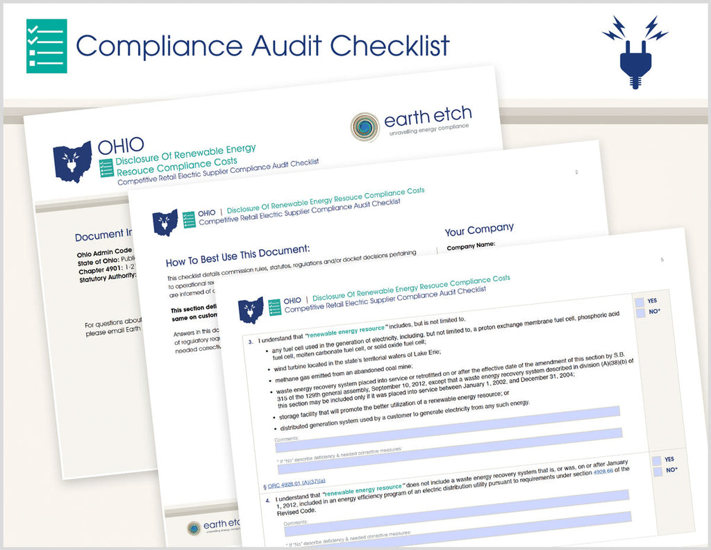 Ohio Disclosure of Renewable Energy Resource Compliance Costs – 4901:1-21-19 – Compliance Audit Checklist (Electric)