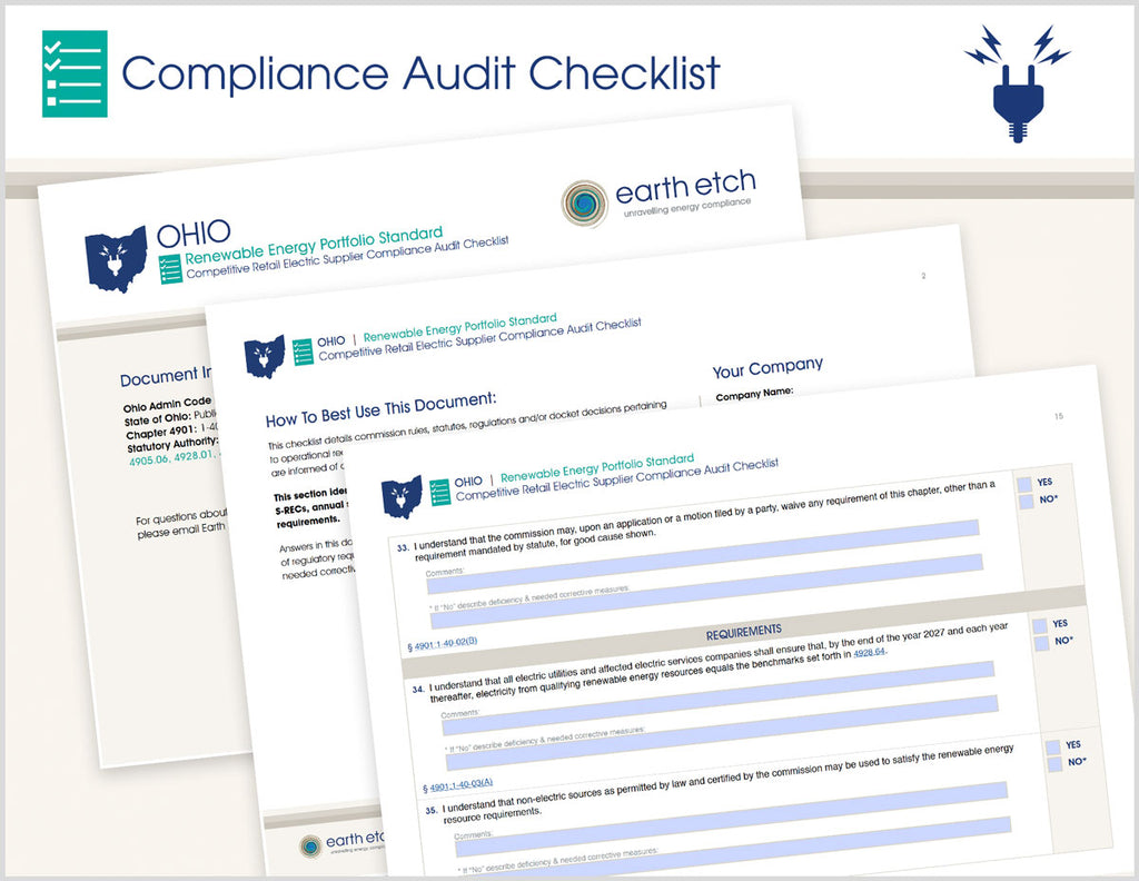 Ohio Renewable Energy Portfolio Standard – 4901:1-40 – Compliance Audit Checklist (Electric)