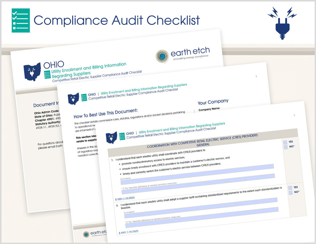 Ohio Utility Enrollment and Billing Information Regarding Suppliers – 4901:1-10-29 & 4901:1-10-33 – Compliance Audit Checklist (Electric)