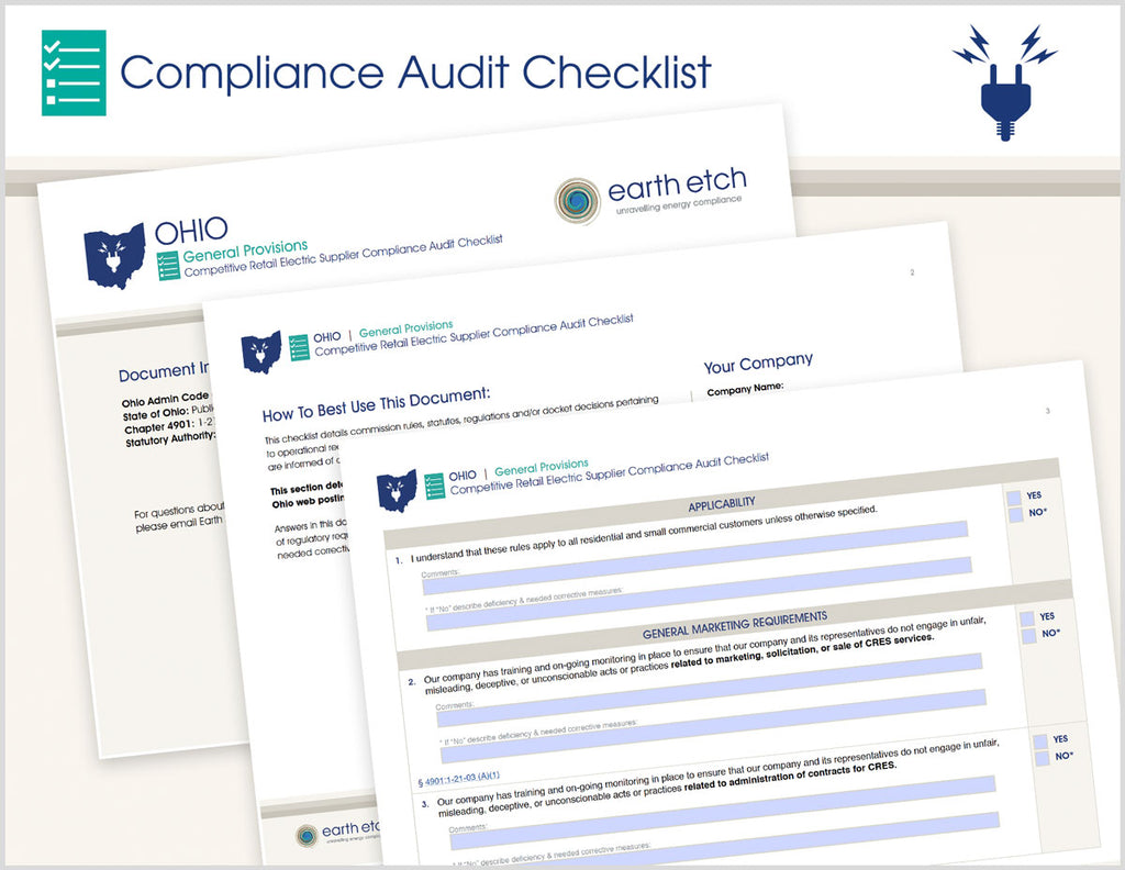 Ohio General Provisions – 4901:1-21-03 – Compliance Audit Checklist (Electric)