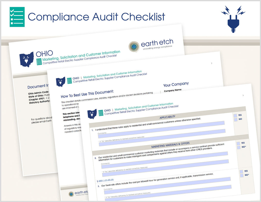 Ohio Marketing, Solicitation and Customer Information – 4901:1-21-05 – Compliance Audit Checklist (Electric)