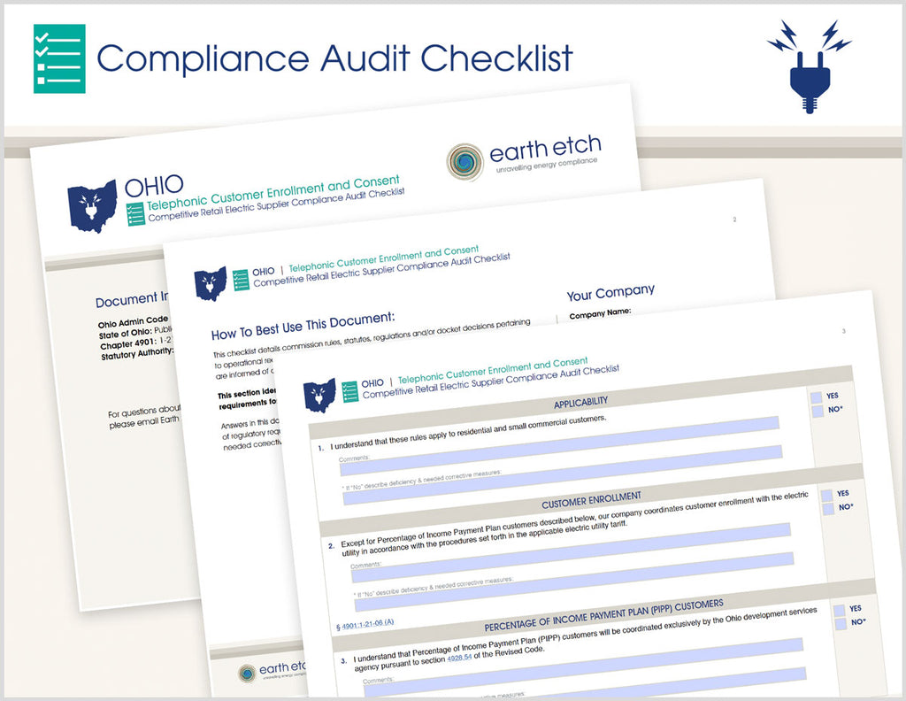 Ohio Telephonic Customer Enrollment and Consent – 4901:1-21-06 – Compliance Audit Checklist (Electric)