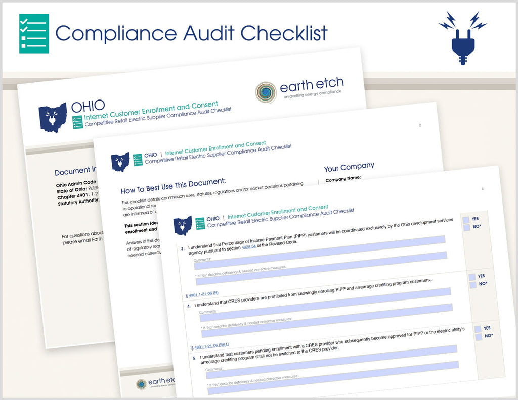 Ohio Internet Customer Enrollment and Consent – 4901:1-21-06 – Compliance Audit Checklist (Electric)