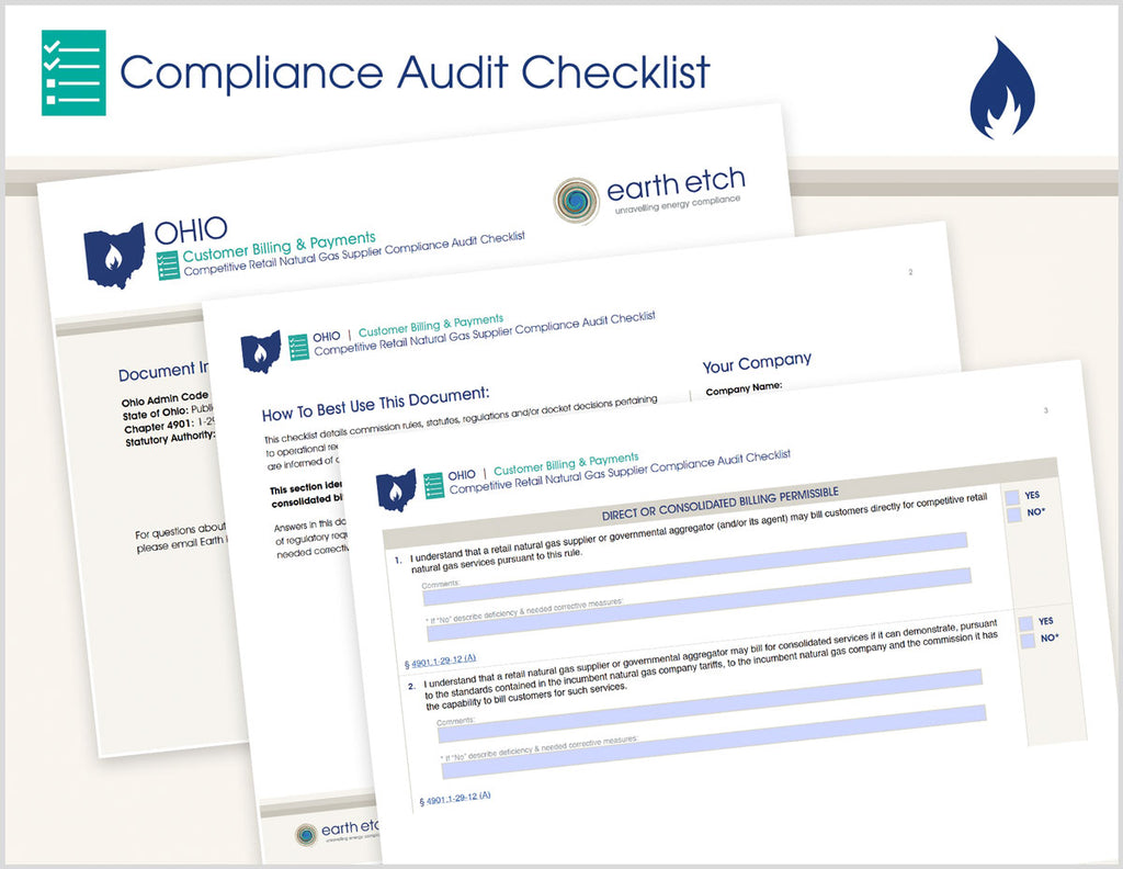 Ohio Customer Billing and Payments – 4901:1-29-12 – Compliance Audit Checklist (Gas)