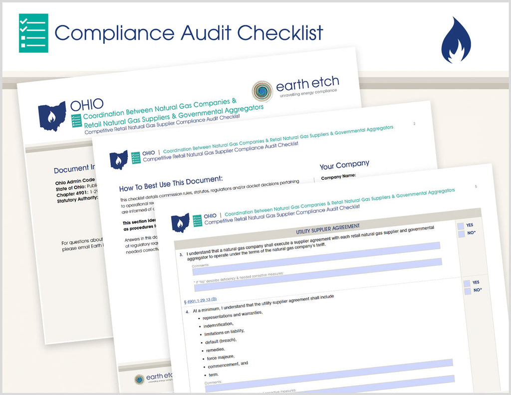 Ohio Coordination Between Natural Gas Companies and Retail Natural Gas Suppliers and Governmental Aggregators – 4901:1-29-13 – Compliance Audit Checklist (Gas)