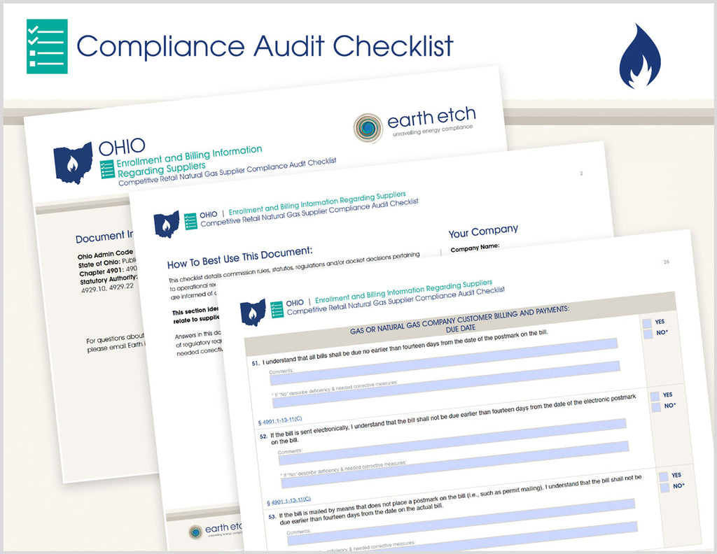 Ohio Utility Enrollment and Billing Information Regarding Suppliers  – 4901:1-13-11 & 4901:1-13-14 – Compliance Audit Checklist (Gas)
