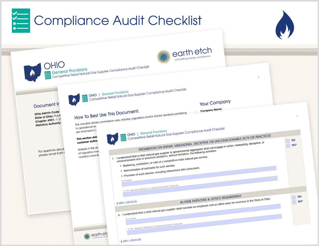 Ohio General Provisions – 4901:1-29-03 – Compliance Audit Checklist (Gas)
