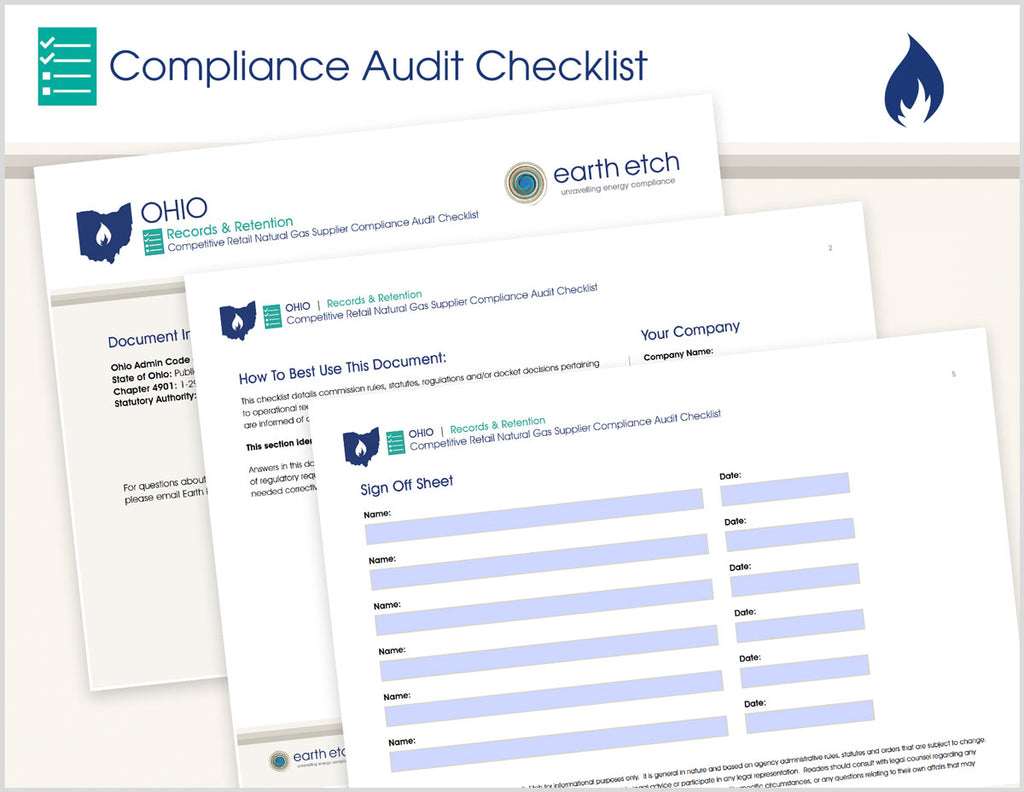 Ohio Records and Retention – 4901:1-29-04 – Compliance Audit Checklist (Gas)