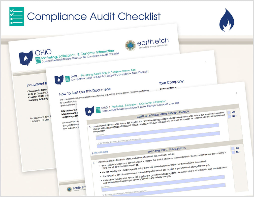 Ohio Marketing, Solicitation and Customer Information – 4901:1-29-05 – Compliance Audit Checklist (Gas)