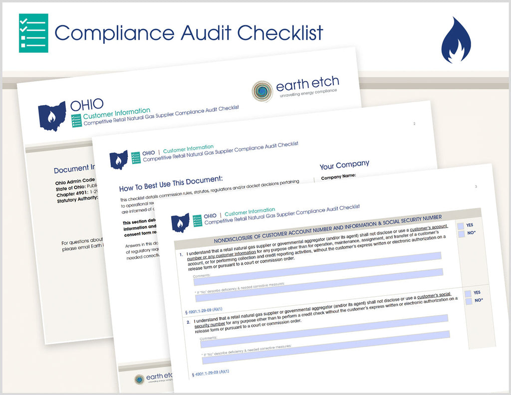 Ohio Customer Information – 4901:1-29-09 – Compliance Audit Checklist (Gas)