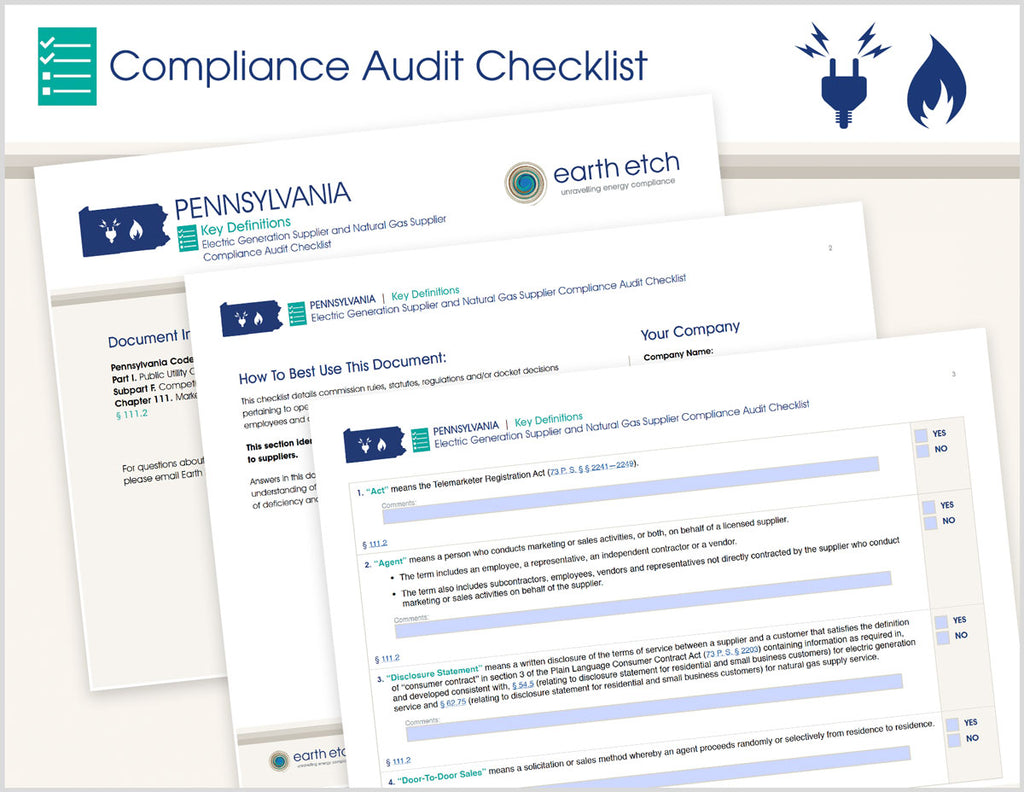 Pennsylvania Key Definitions – § 111.2 – Compliance Audit Checklist (Electric & Gas)