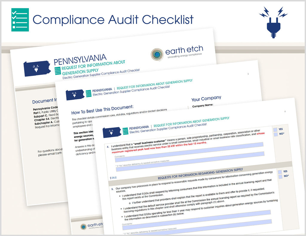Pennsylvania Request for Information About Generation Supply – § 54.6 – Compliance Audit Checklist (Electric)