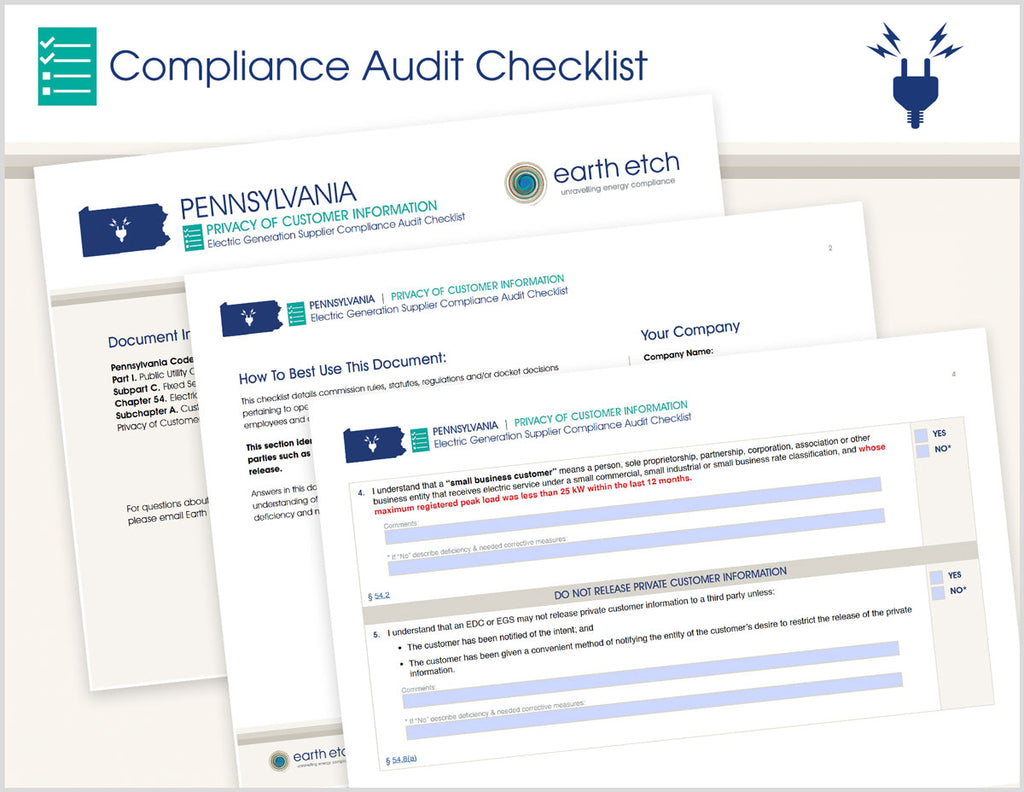 Pennsylvania Privacy of Customer Information – § 54.8 – Compliance Audit Checklist (Electric)