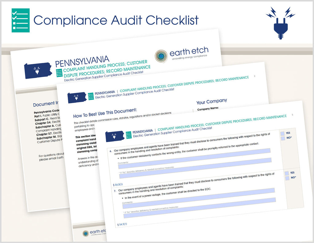 Pennsylvania Compliant Handling Process; Customer Dispute Procedures; Record Maintenance – §§ 54.9,  57.177 & 57.179 – Compliance Audit Checklist (Electric)