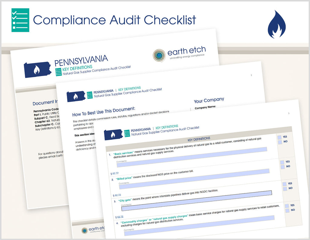Pennsylvania Key Definitions – § 62.72 – Compliance Audit Checklist (Gas)
