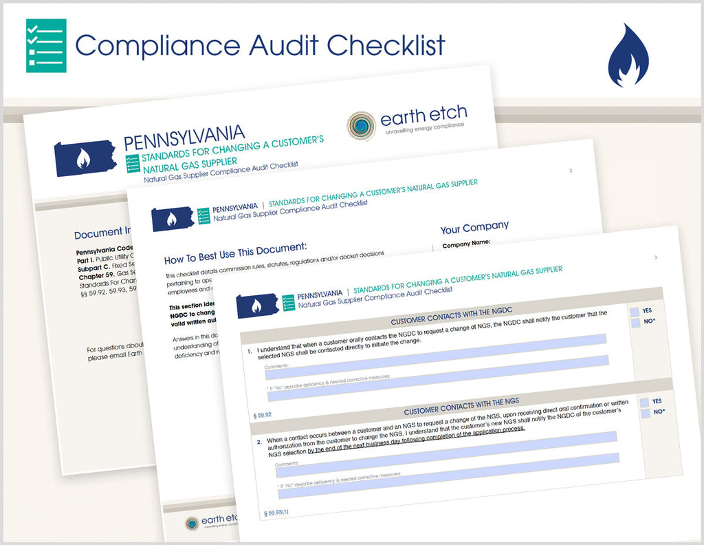 Pennsylvania Standards for Changing a Customer's Natural Gas Supplier – §§ 59.92, 59.93, 59.95, 59.96 & 59.99 – Compliance Audit Checklist (Gas)