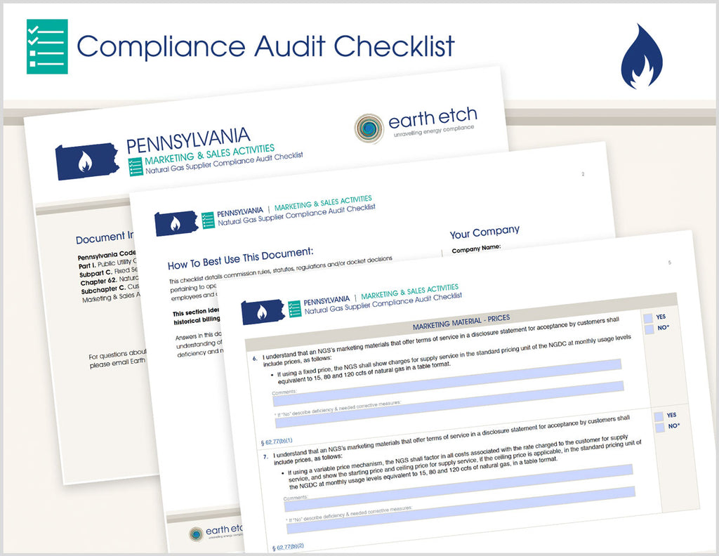 Pennsylvania Marketing & Sales Activities – § 62.77 – Compliance Audit Checklist (Gas)