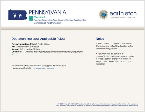 Pennsylvania Code 111 Compliance Audit Checklist BUNDLE (Electric & Gas)