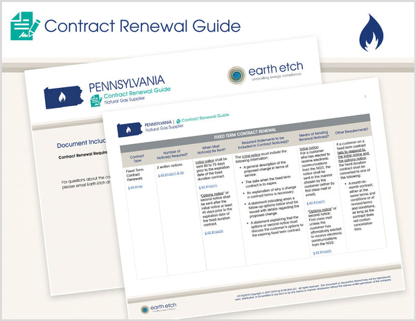 Pennsylvania Contract Renewal Guide (Gas)