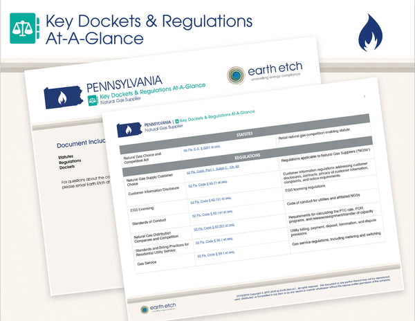 Pennsylvania Key Dockets & Regulations At-A-Glance (Gas)
