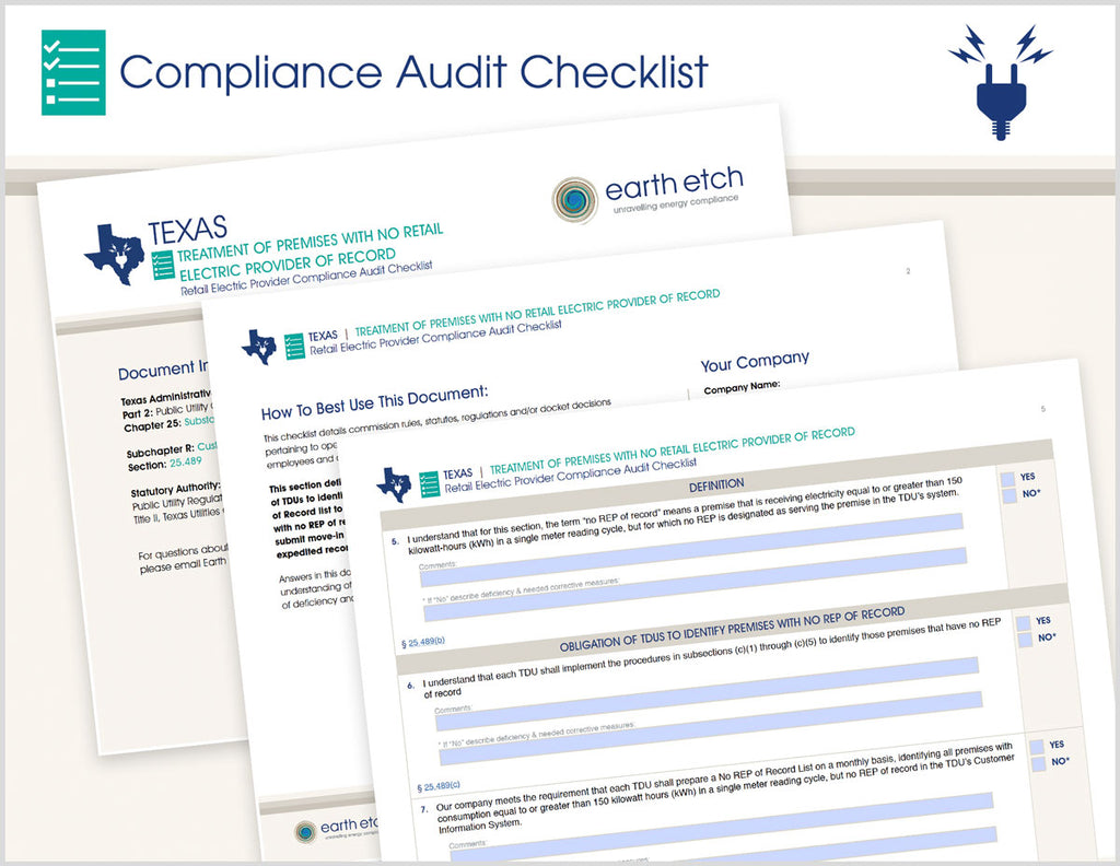 Texas Treatment of Premises With No Retail Electric Provider of Record - § 25.489 – Compliance Audit Checklist (Electric)