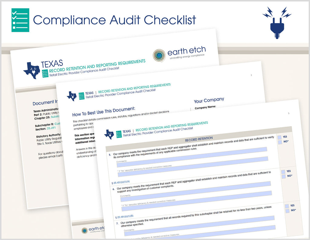 Texas Record Retention and Reporting Requirements - § 25.491 – Compliance Audit Checklist (Electric)