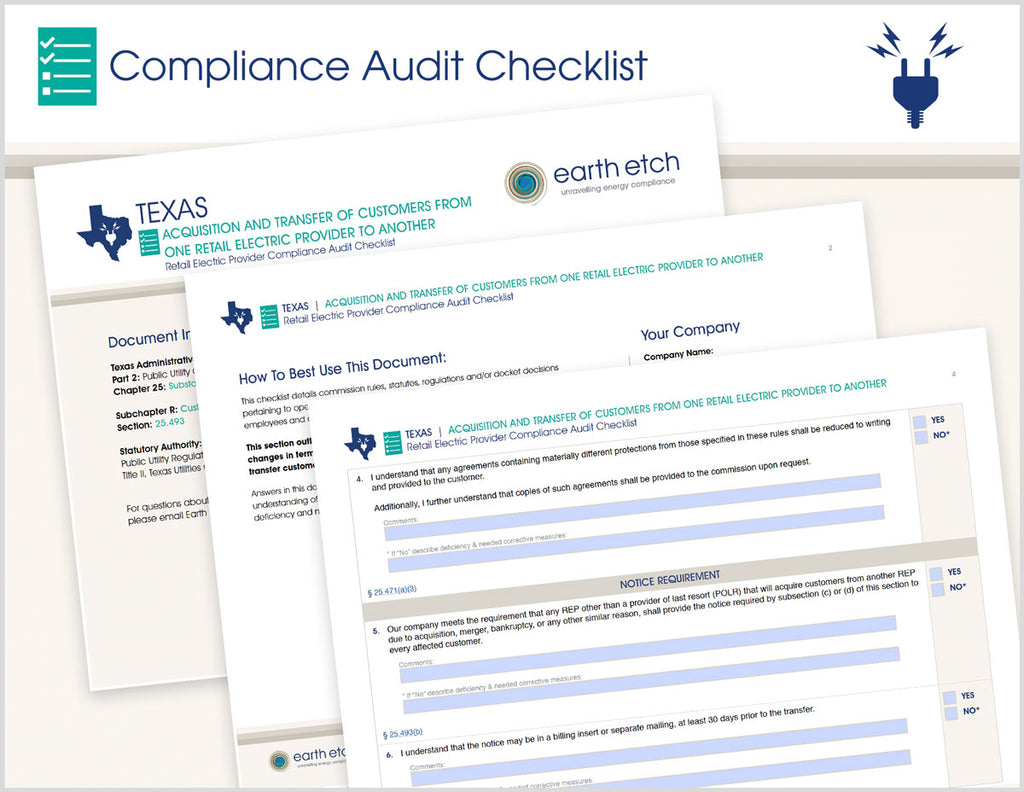 Texas Acquisition and Transfer of Customers From One Retail Electric Provider to Another - § 25.493 – Compliance Audit Checklist (Electric)