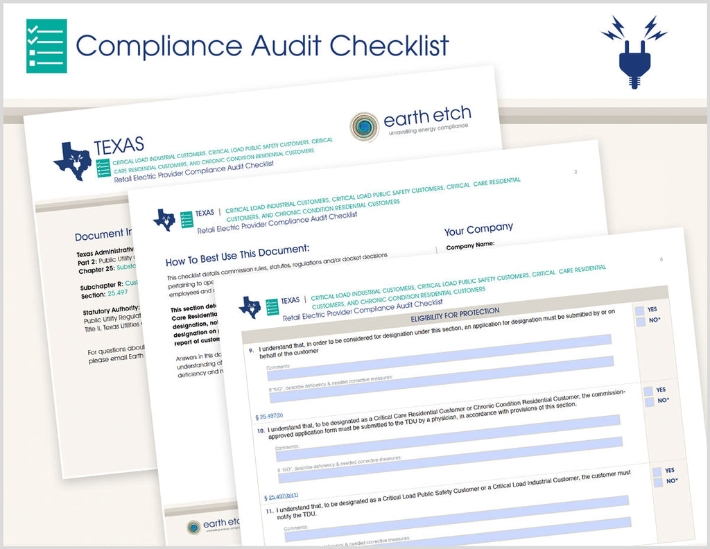 Texas Critical Load Indust Customers, Critical Load Public Safety Customers, Critical Care Res Customers and Chronic Condition Res Customers - § 25.497 – Compliance Audit Checklist (Electric)