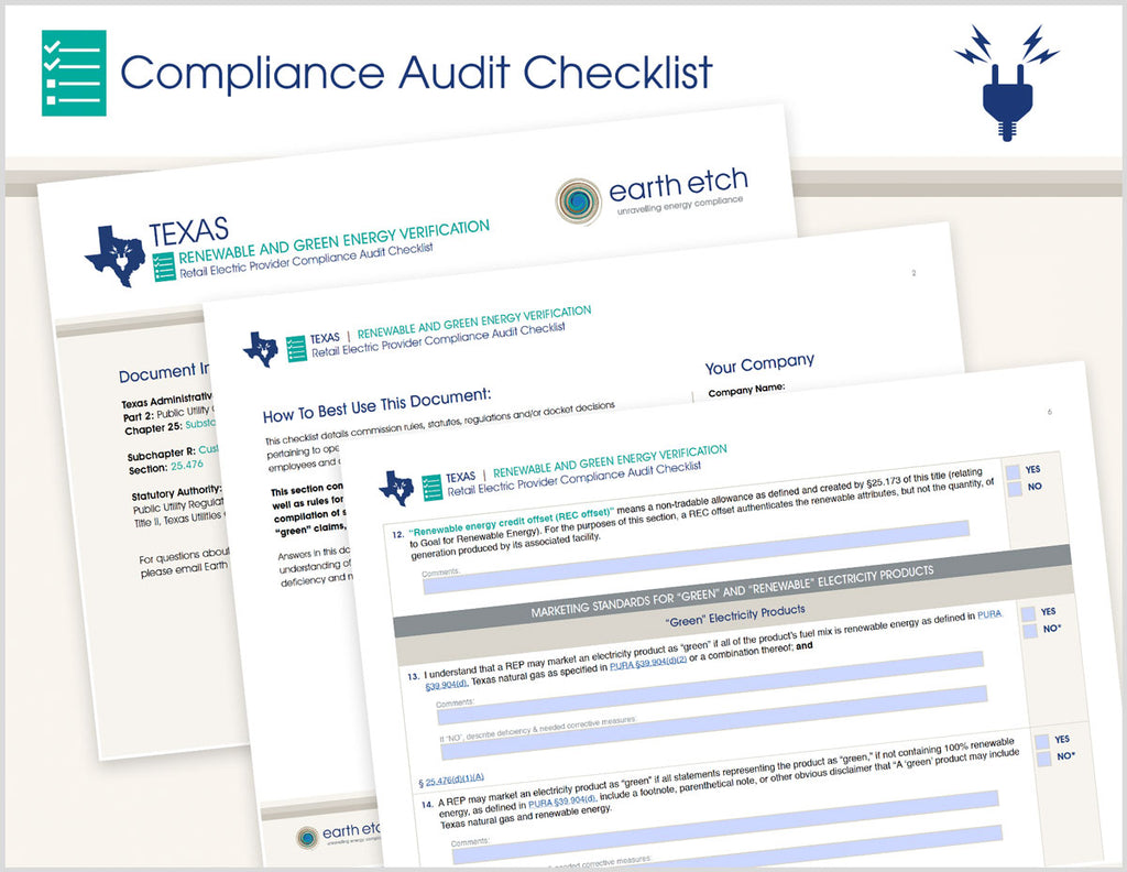 Texas Renewable and Green Energy Verification - § 25.476 – Compliance Audit Checklist (Electric)